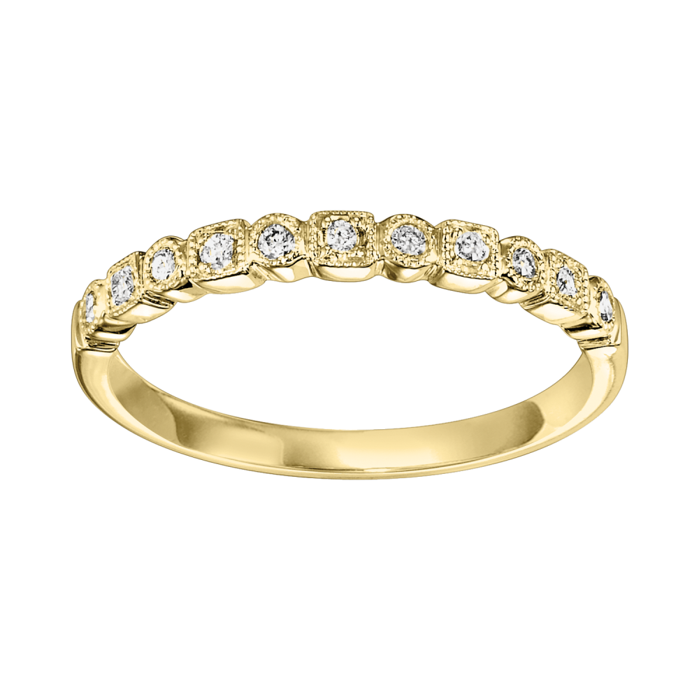 14K Yellow Gold Stackable Prong Diamond Band (1/8 Ct. Tw.)