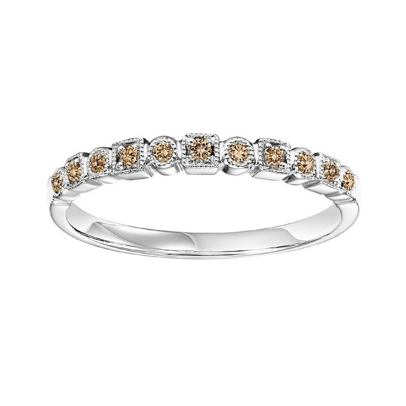 14K White Gold Stackable Prong Colored Diamond Band (1/10 Ct. Tw.)