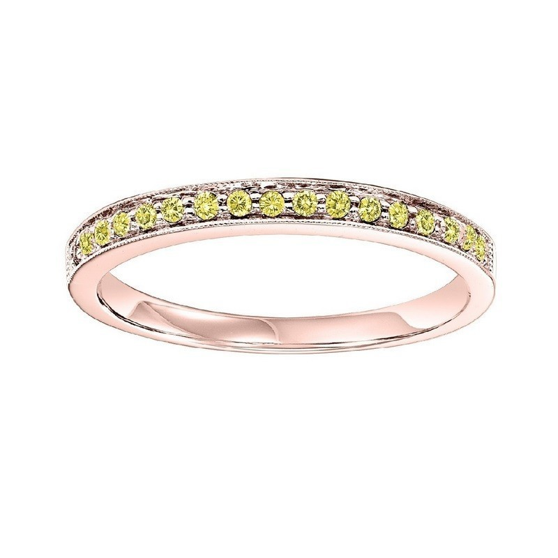 14K Rose Gold Stackable Prong Colored Diamond Band
