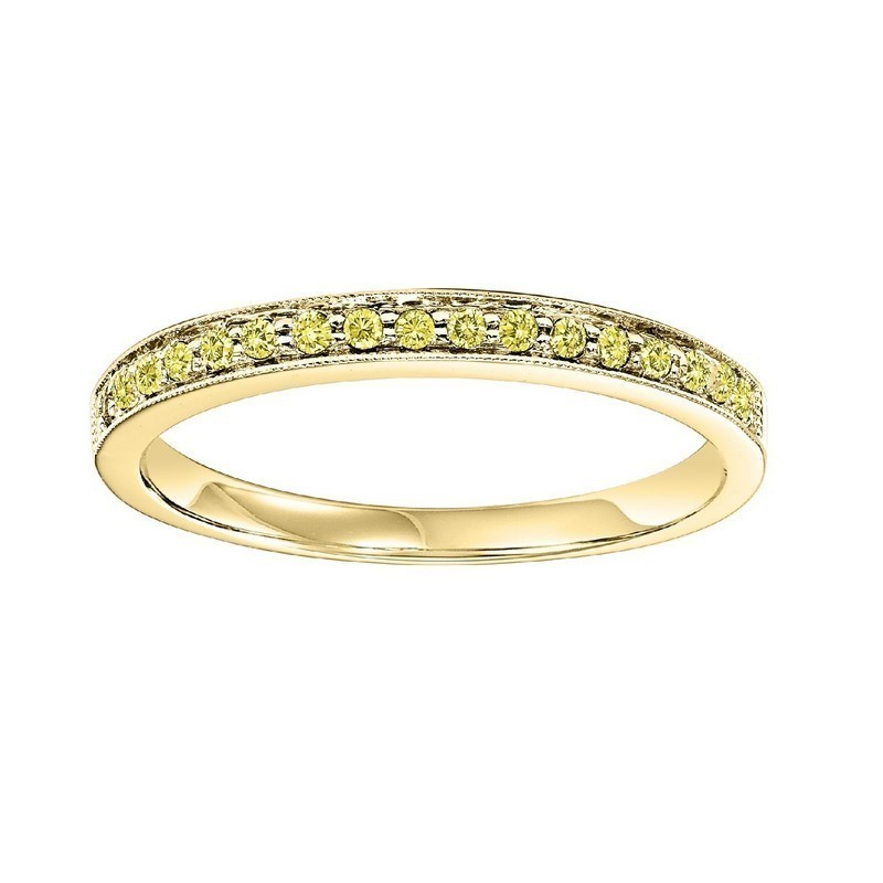 14K Yellow Gold Stackable Prong Colored Diamond Band