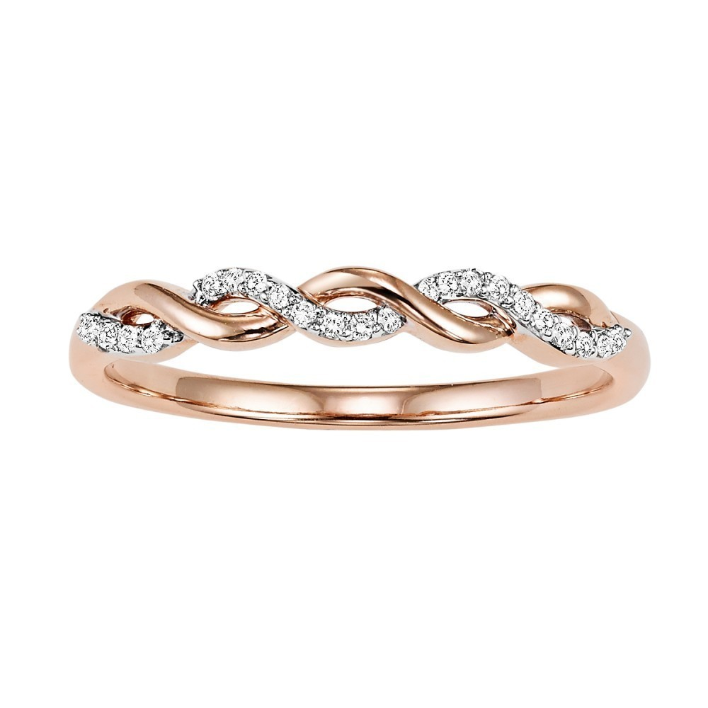14K Rose Gold Stackable Prong Diamond Band (1/20 Ct. Tw.)
