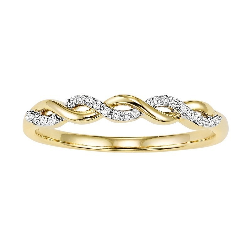 14K Yellow Gold Stackable Prong Diamond Band (1/20 Ct. Tw.)