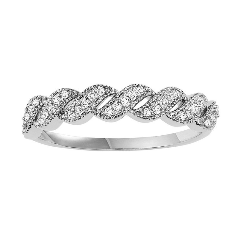 14K White Gold Stackable Prong Diamond Band (1/10 Ct. Tw.)