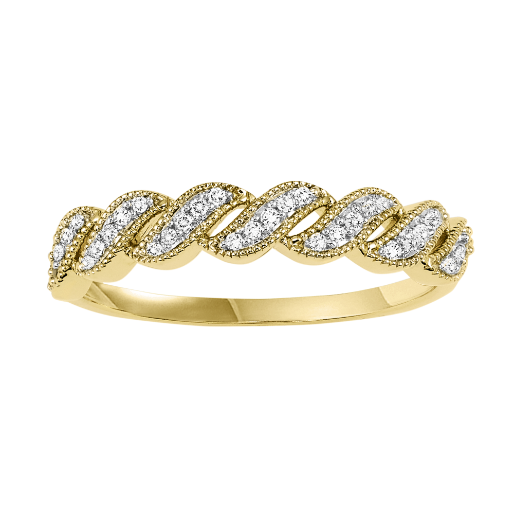 14K Yellow Gold Stackable Prong Diamond Band (1/10 Ct. Tw.)