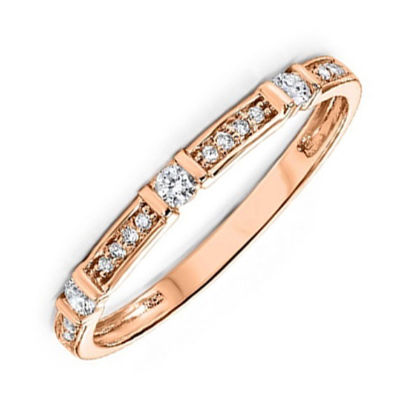 14K Rose Gold Stackable Prong Diamond Band (1/6 Ct. Tw.)