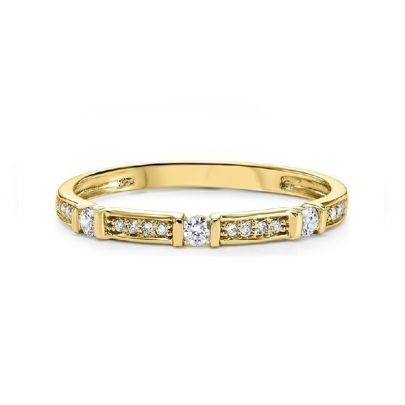 Diamond Solitaire Station Bar Stackable 3/4 Eternity Band In 14k Yellow Gold (1/6 Ctw)
