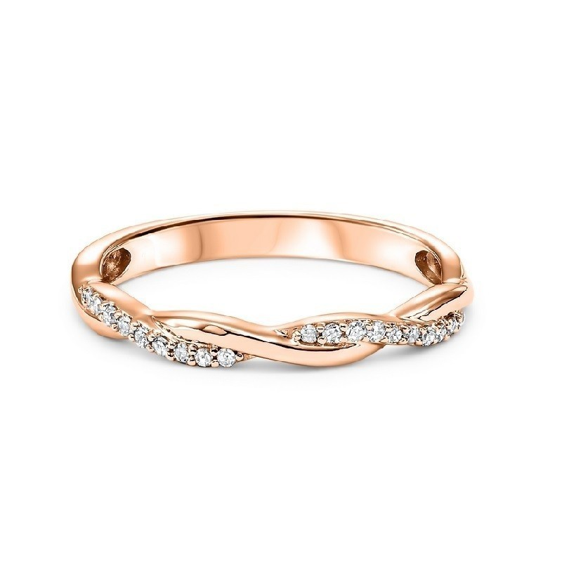 14K Rose Gold Stackable Prong Diamond Band (1/10 Ct. Tw.)