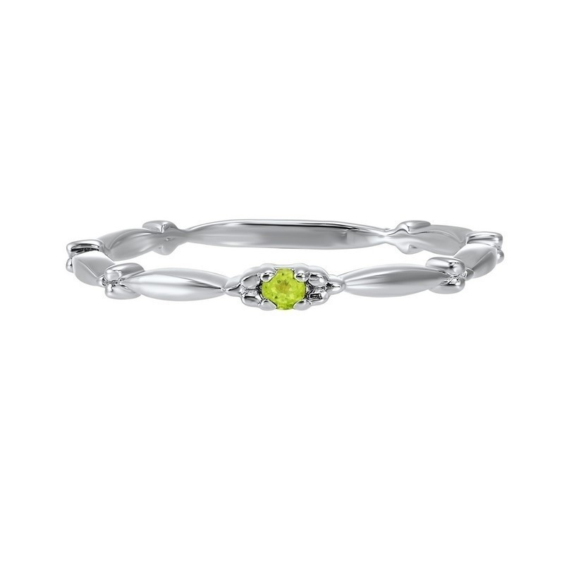 Peridot Solitaire Antique Style Slender Stackable Band In 10k White Gold