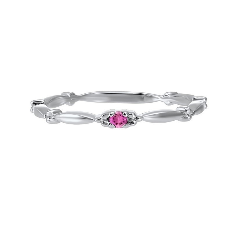 Pink Tourmaline Solitaire Antique Style Slender Stackable Band In 10k White Gold