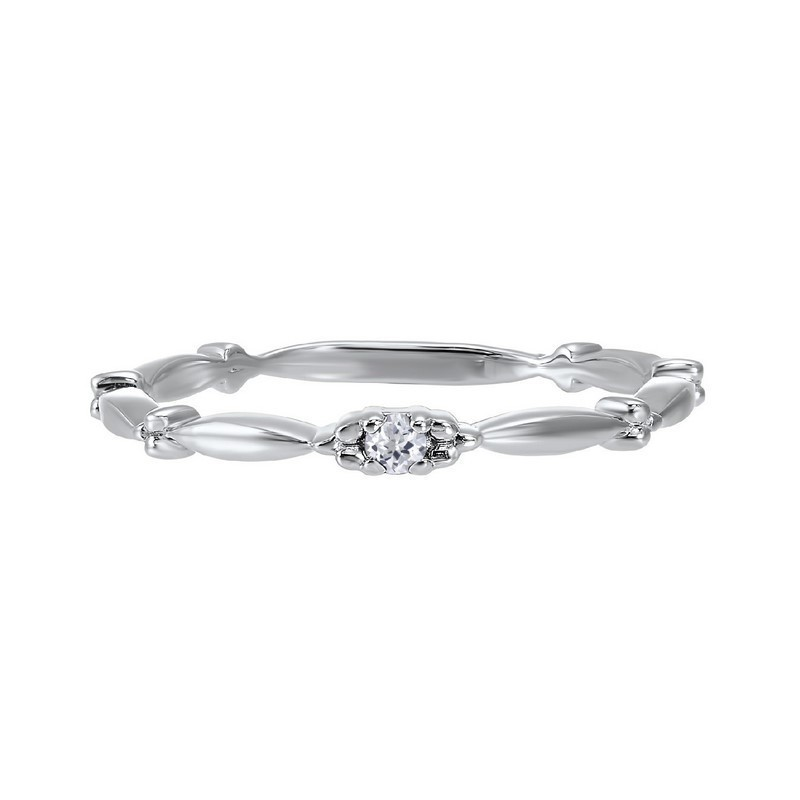 White Topaz Solitaire Antique Style Slender Stackable Band In 10k White Gold