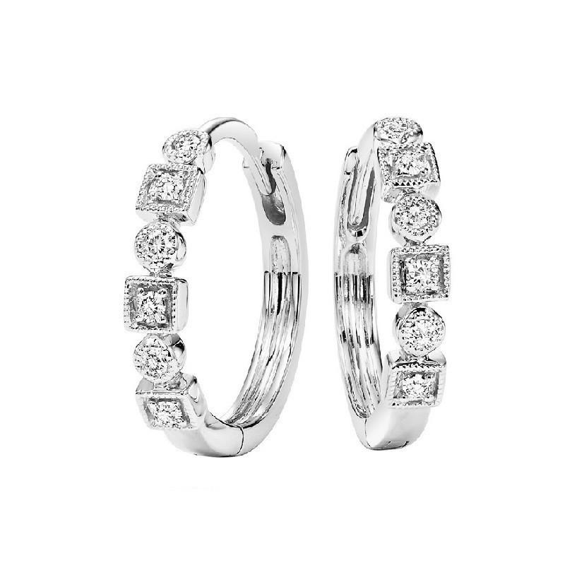 Geometric Milgrain Diamond Earrings In 10K White Gold (1/7 Ct. Tw.)