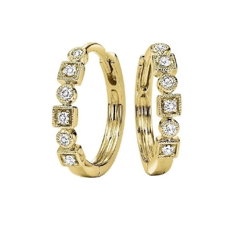 Geometric Milgrain Diamond Earrings In 10K Yellow Gold (1/7 Ct. Tw.)