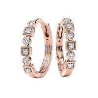 Modern Diamond Petite Huggie Hoop Earrings In 10k Rose Gold (1/7 Ctw)