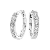 Mini Milgrain Diamond Hoop Earrings In 10K White Gold (1/7 Ct. Tw.)