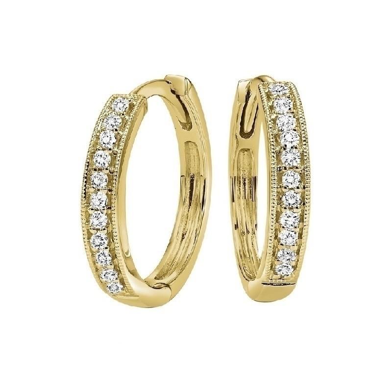 Mini Milgrain Diamond Hoop Earrings In 10K Yellow Gold (1/7 Ct. Tw.)