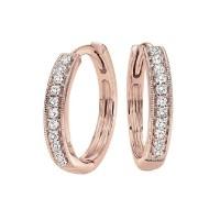 Mini Milgrain Diamond Hoop Earrings In 10K Rose Gold (1/7 Ct. Tw.)