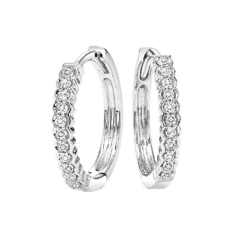 Petite Diamond Hoop Earrings In 10K White Gold (1/7 Ct. Tw.)