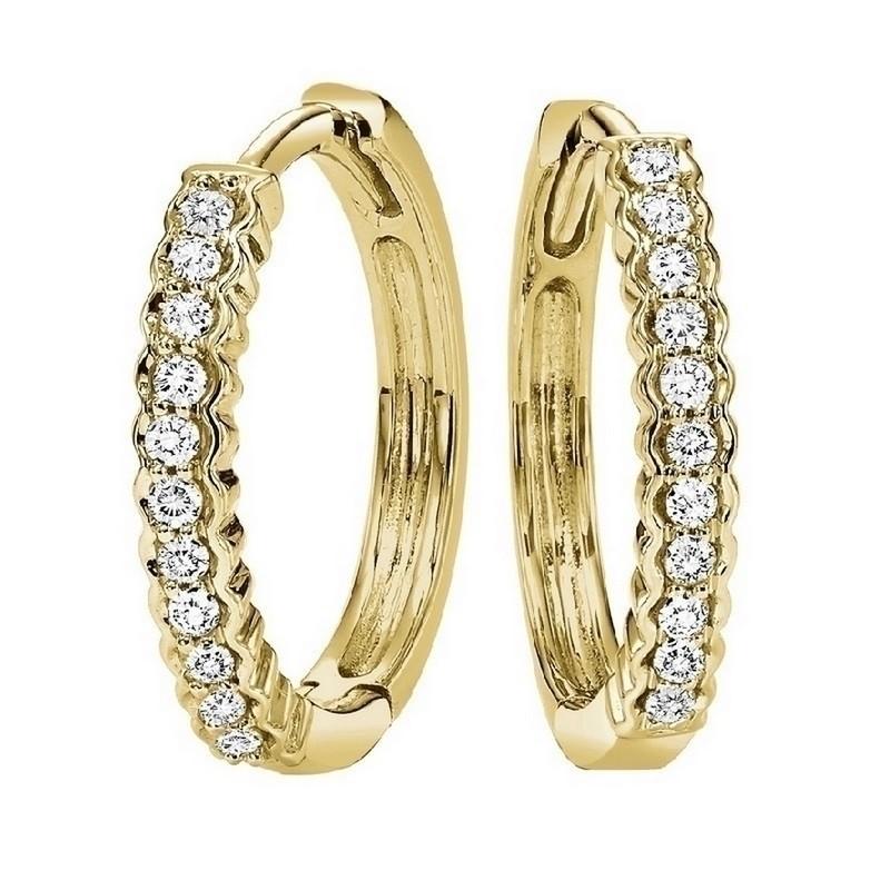 Petite Diamond Hoop Earrings In 10K Yellow Gold (1/7 Ct. Tw.)