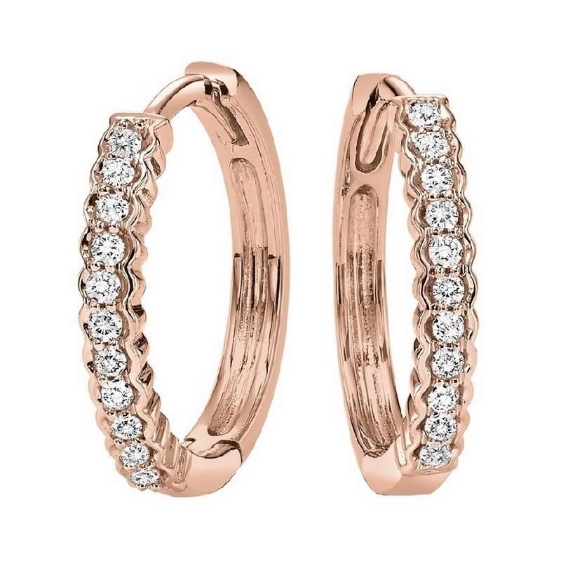 Petite Diamond Hoop Earrings In 10K Rose Gold (1/7 Ct. Tw.)
