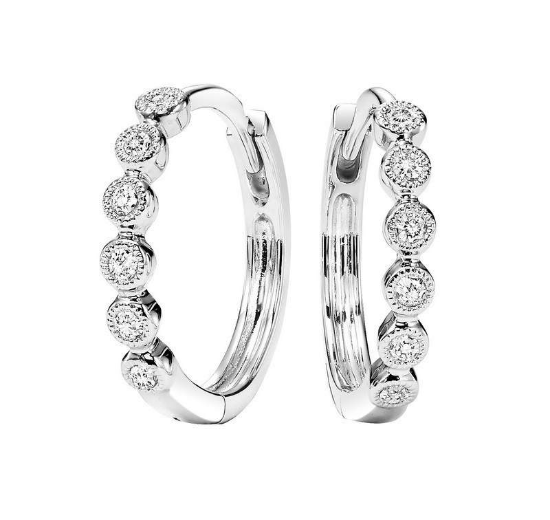 Circular Milgrain Diamond Earrings In 10K White Gold (1/7 Ct. Tw.)