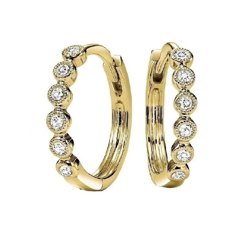Circular Milgrain Diamond Earrings In 10K Yellow Gold (1/7 Ct. Tw.)