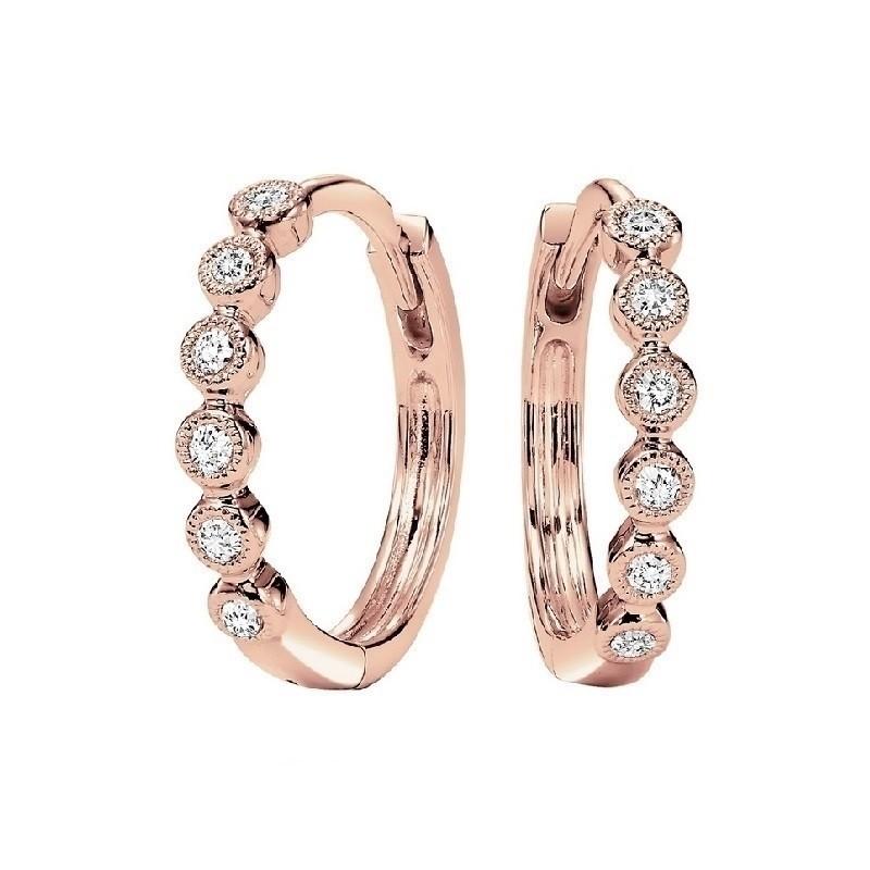 Circular Milgrain Diamond Earrings In 10K Rose Gold (1/7 Ct. Tw.)
