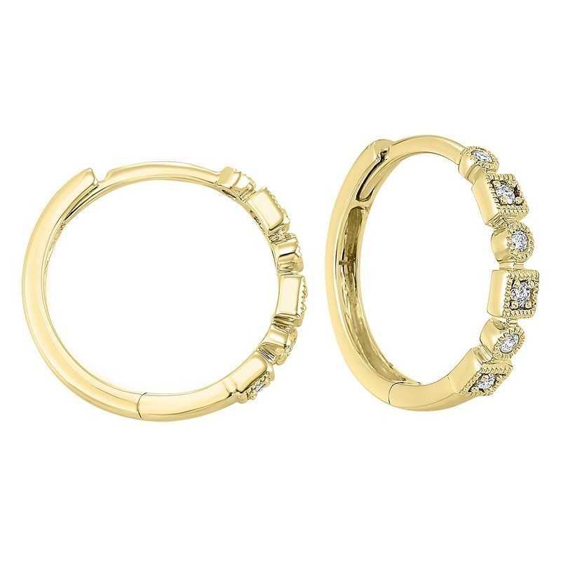 14K Yellow Gold Mixable Prong Diamond Earrings 1/7CT