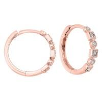 14K Rose Gold Mixable Prong Diamond Earrings 1/7CT