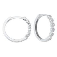14K White Gold Mixable Bezel Diamond Earrings 1/7CT