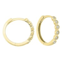 14K Yellow Gold Mixable Bezel Diamond Earrings 1/7CT