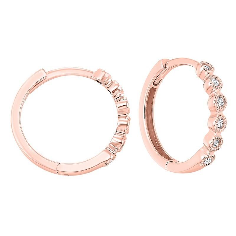 14K Rose Gold Mixable Bezel Diamond Earrings 1/7CT