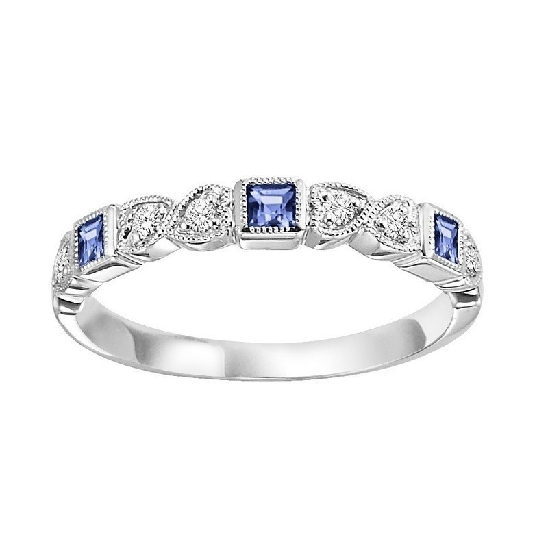Stackable Bezel Set Sapphire Band In 10K White Gold (1/12 Ct. Tw.)