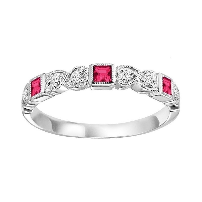 Stackable Bezel Set Ruby Band In 10K White Gold (1/10 Ct. Tw.)