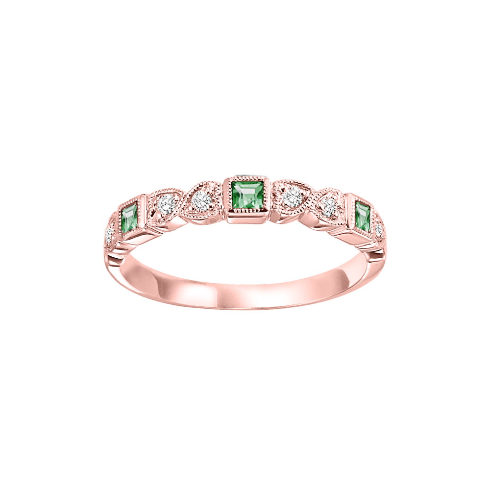 Stackable Emerald & Diamond Band In 10K Rose Gold (1/10 Ct. Tw.)