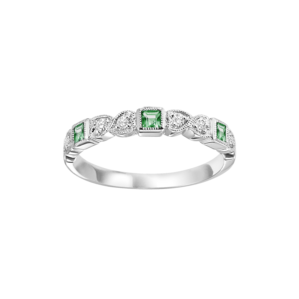Stackable Emerald & Diamond Band In 10K White Gold (1/10 Ct. Tw.)