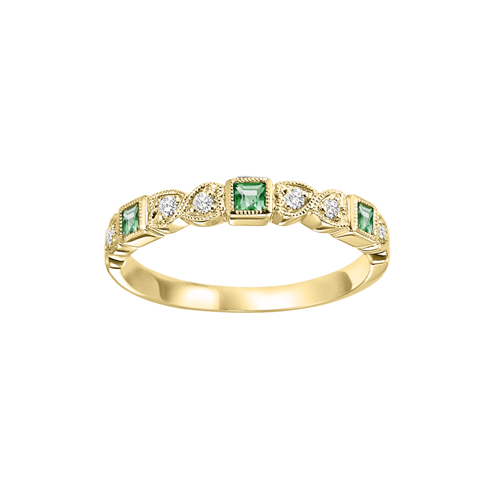 Stackable Emerald & Diamond Band In 10K Yellow Gold (1/10 Ct. Tw.)