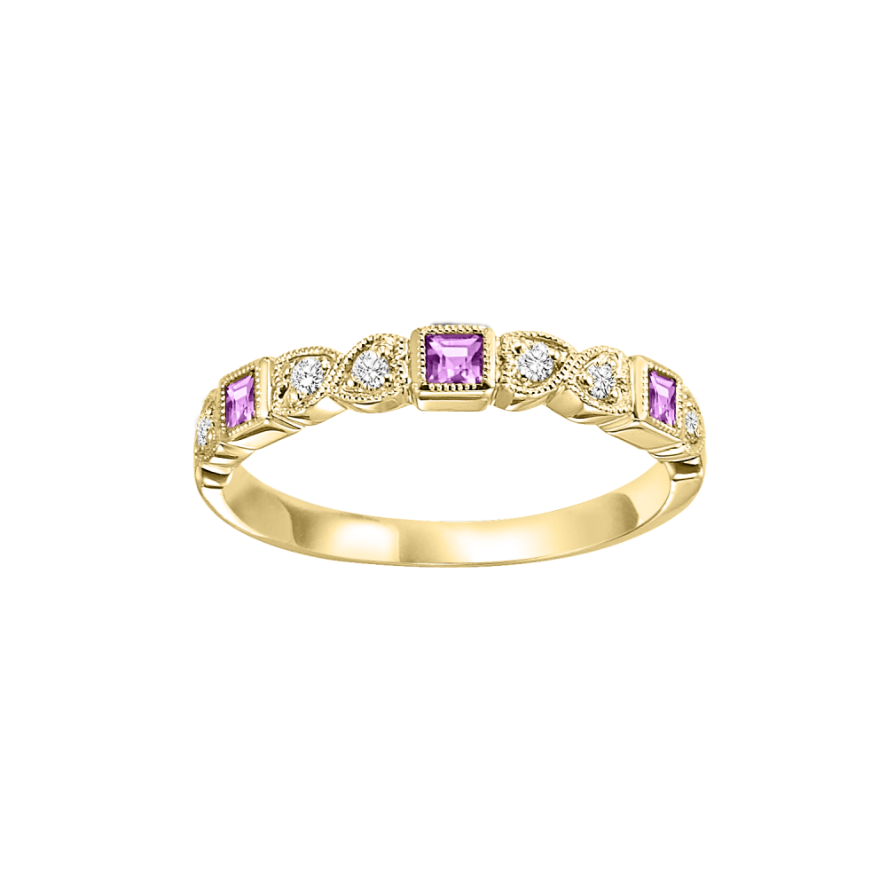 10K Yellow Gold Stackable Bezel Pink Sapphire Band (1/12 Ct. Tw.)