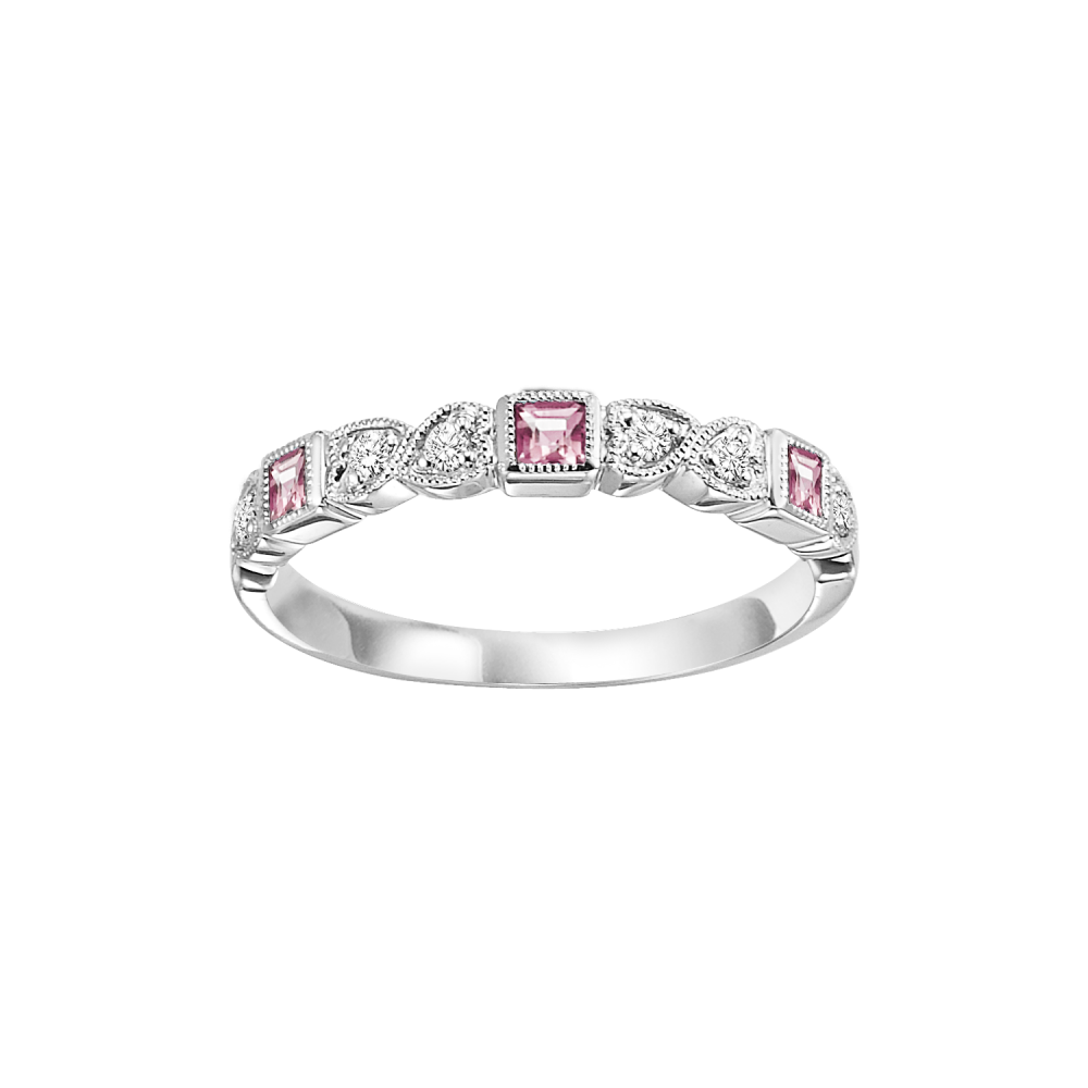 10K White Gold Stackable Bezel Pink Tourmaline Band (1/10 Ct. Tw.)