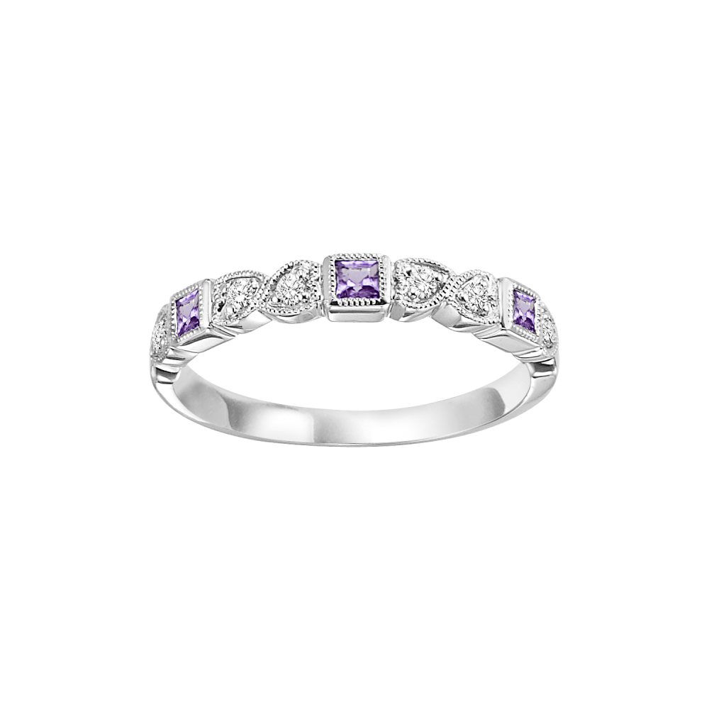 10K White Gold Stackable Bezel Amethyst Band (1/12 Ct. Tw.)