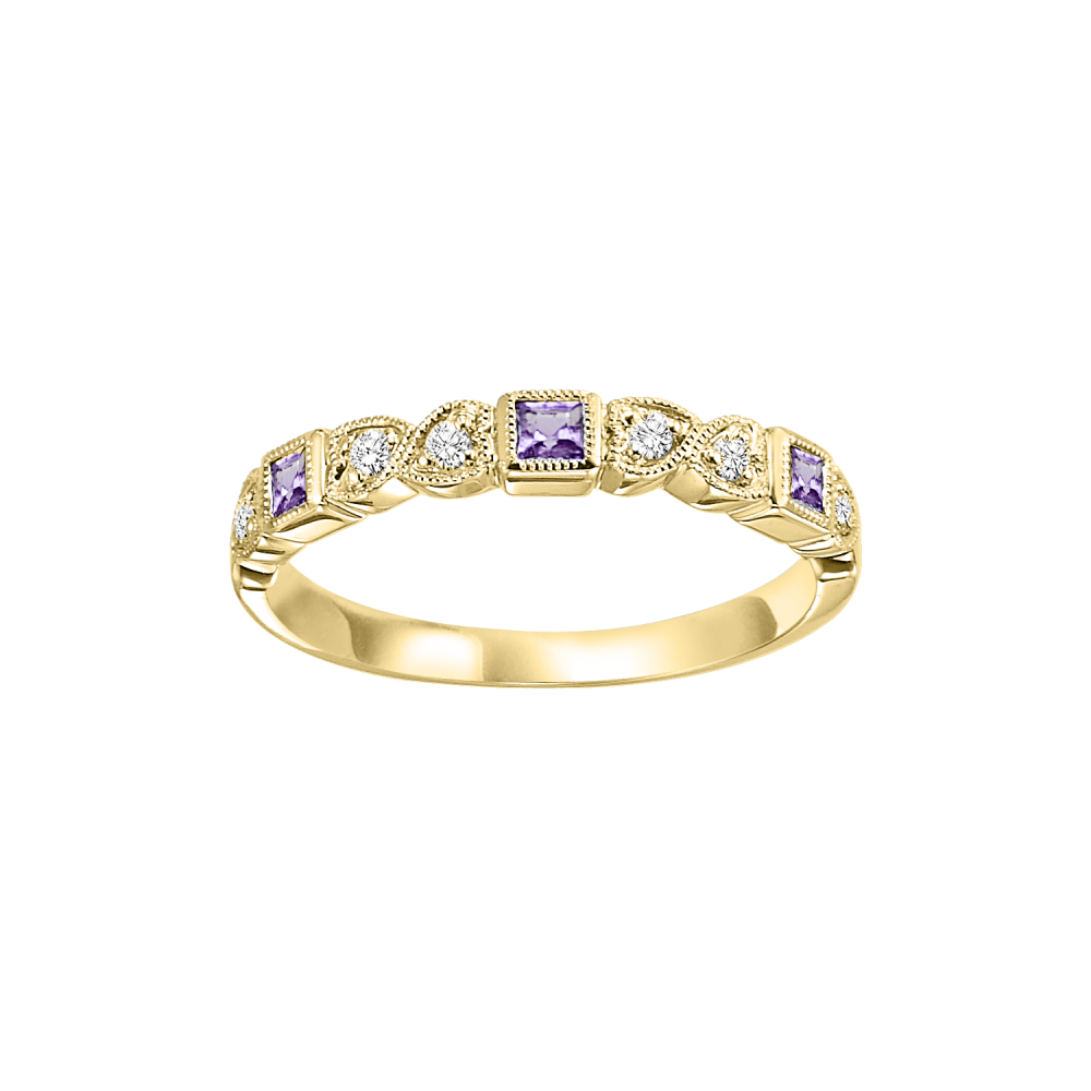 10K Yellow Gold Stackable Bezel Amethyst Band (1/12 Ct. Tw.)
