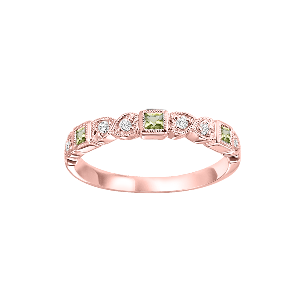 10K Rose Gold Stackable Bezel Peridot Band (1/12 Ct. Tw.)