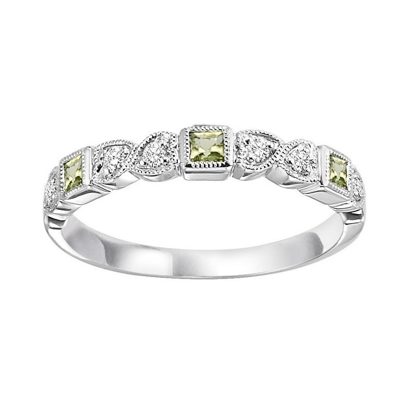 10K White Gold Stackable Bezel Peridot Band (1/12 Ct. Tw.)