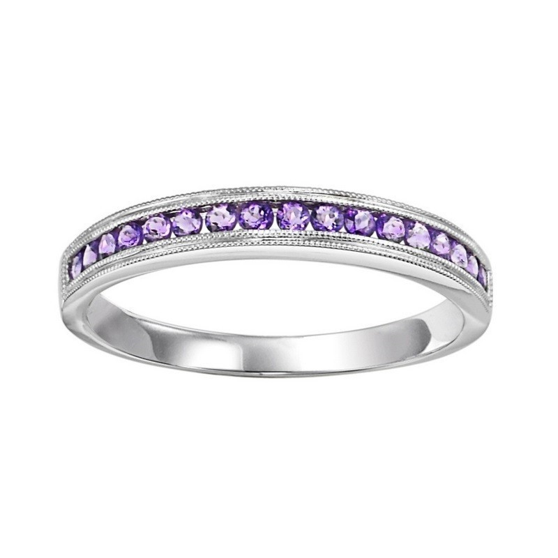10K White Gold Stackable Channel Alexandrite Band