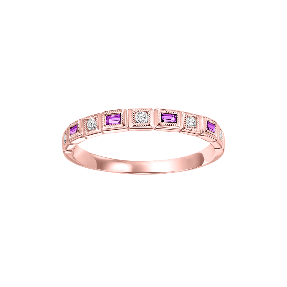 Stackable Ruby & Diamond Band In 10K Rose Gold (1/10 Ct. Tw.)