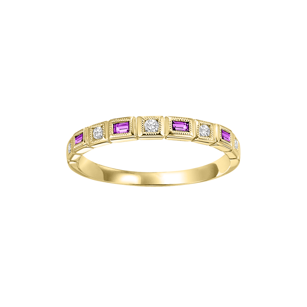 Stackable Ruby & Diamond Band In 10K Yellow Gold (1/10 Ct. Tw.)