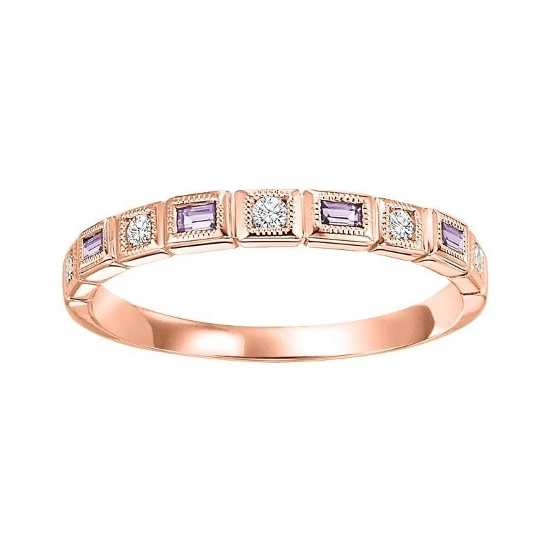 10K Rose Gold Stackable Bezel Pink Sapphire Band (1/12 Ct. Tw.)