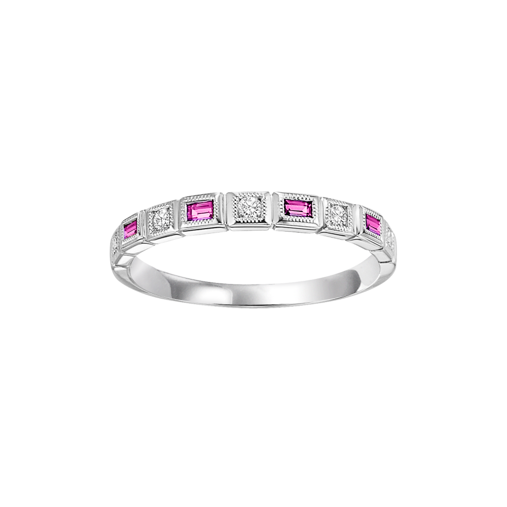 10K White Gold Stackable Bezel Pink Sapphire Band (1/12 Ct. Tw.)