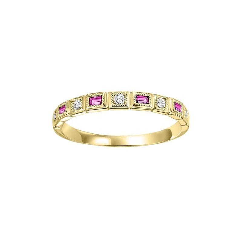10K Yellow Gold Stackable Bezel Pink Sapphire Band