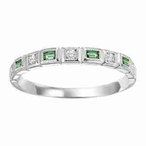 10K White Gold Stackable Bezel Emerald Band (1/10 Ct. Tw.)