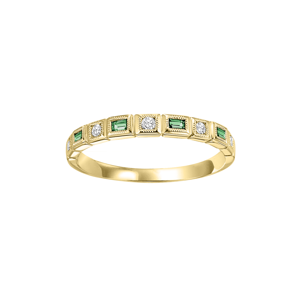 10K Yellow Gold Stackable Bezel Emerald Band (1/10 Ct. Tw.)